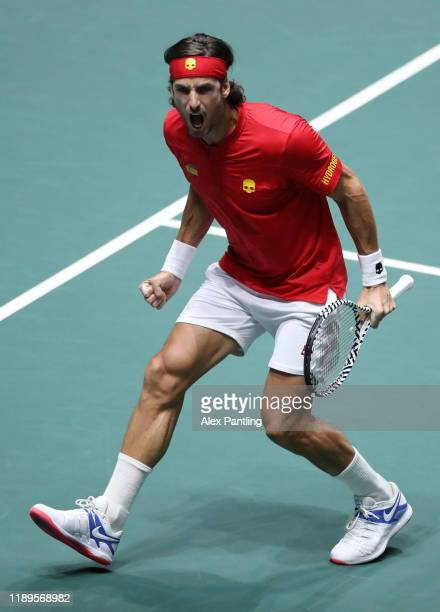 Feliciano Lopez of Spain celebrates a point in his semi final singles match against Kyle Edmund of Great Britain during Day 6 of the 2019 Davis Cup...