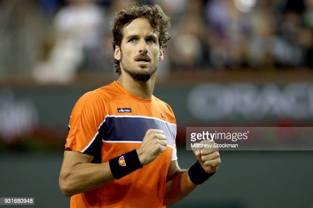 Feliciano Lopez of Spain celebrates his win over Jack Sock during the BNP Paribas Open at the Indian Wells Tennis Garden on March 13 2018 in Indian...