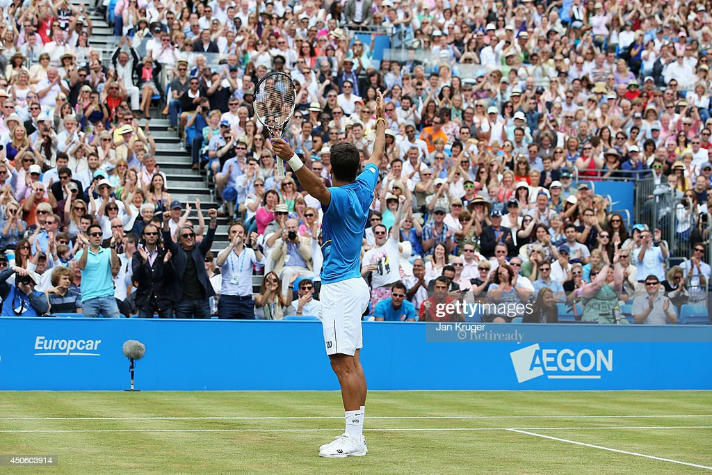 Feliciano Lopez of Spain celebrates in the first set against Radek Stepanek of the Czech Republic during their Men's Singles semi-final match on day six of the Aegon Championships at Queens Club on June 14, 2014 in London, England.