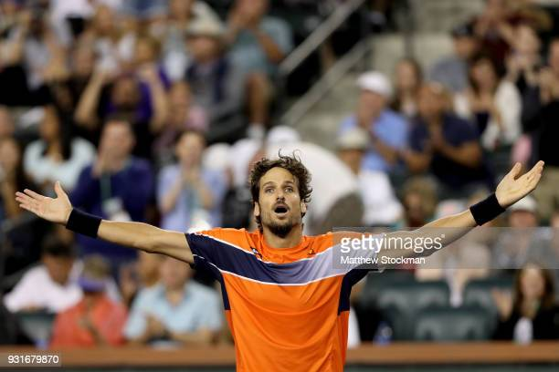 Feliciano Lopez of Spain celebrates match point against Jack Sock during the BNP Paribas Open at the Indian Wells Tennis Garden on March 13 2018 in...