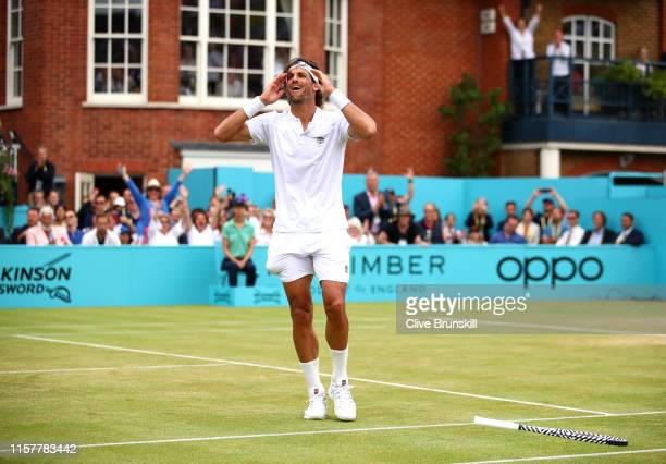 Feliciano Lopez of Spain celebrates match point during the mens singles final against Gilles Simon of France during day seven of the FeverTree...