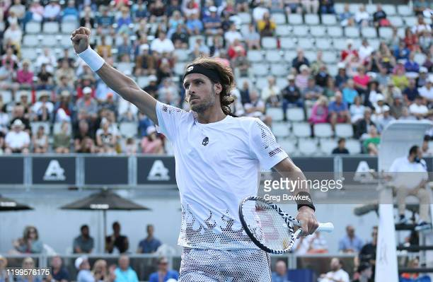 Feliciano Lopez of Spain celebrates the final point against Fabio Fognini of Italy during day three of the 2020 Men's ASB Classic at ASB Tennis...