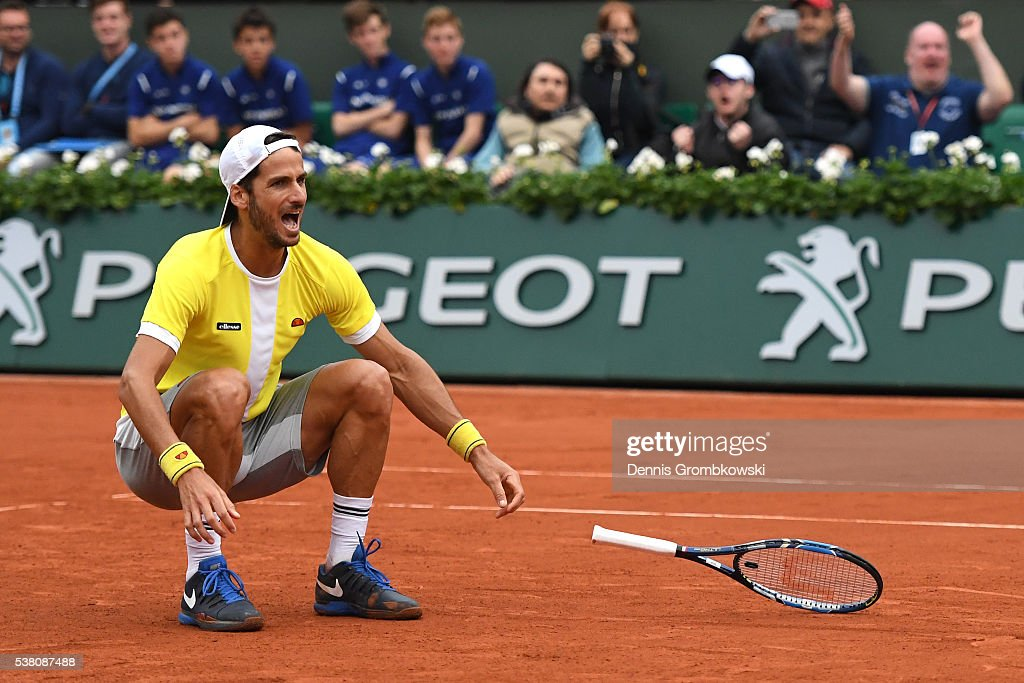 Feliciano Lopez of Spain celebrates victory during the Men's Doubles final match against Mike Bryan and Bob Bryan of the United States on day fourteen of the 2016 French Open at Roland Garros on June 4, 2016 in Paris, France.