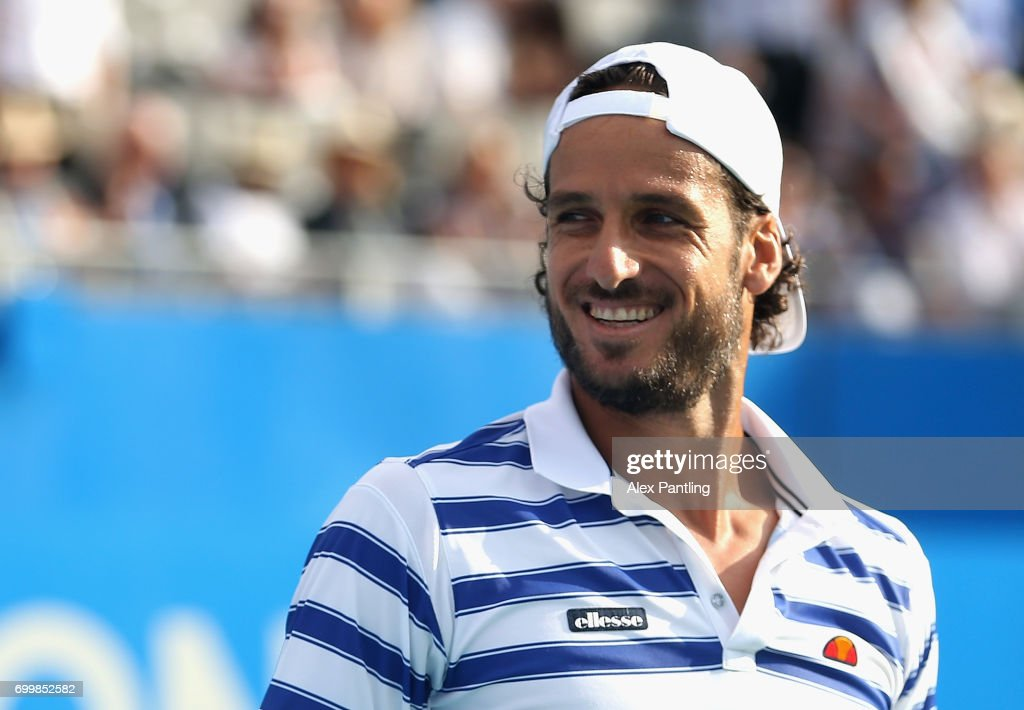 Feliciano Lopez of Spain celebrates victory during the mens singles second round match against Jeremy Chardy of France on day four of the 2017 Aegon Championships at Queens Club on June 22, 2017 in London, England.