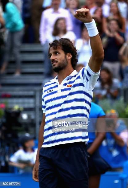 Feliciano Lopez of Spain celebrates victory during the mens singles quarter final match against Tomas Berdych of The Czech Republic on day five of...