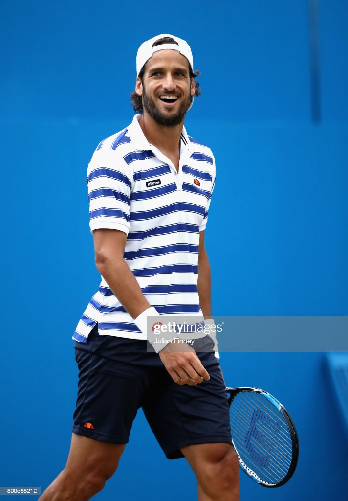 Feliciano Lopez of Spain celebrates victory during the mens singles semi-final match against Grigor Dimitrov of Bulgaria on day six of the 2017 Aegon Championships at Queens Club on June 24, 2017 in London, England.