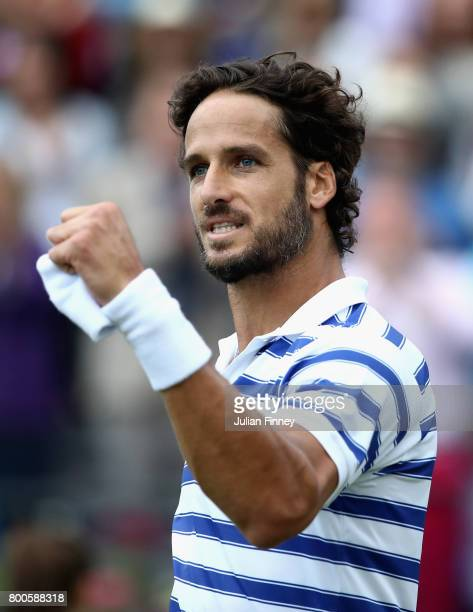 Feliciano Lopez of Spain celebrates victory during the mens singles semifinal match against Grigor Dimitrov of Bulgaria on day six of the 2017 Aegon...