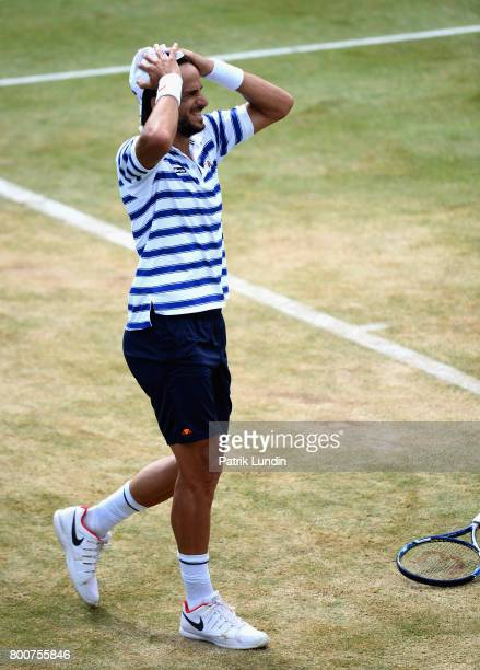 Feliciano Lopez of Spain celebrates victory in the mens singles final against Marin Cilic of Croatia during day seven of the 2017 Aegon Championships...