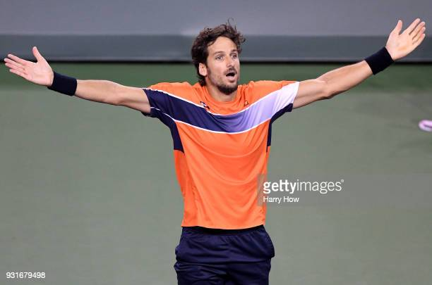 Feliciano Lopez of Spain celebrates victory over Jack Sock of the United States during the BNP Paribas Open at the Indian Wells Tennis Garden on...