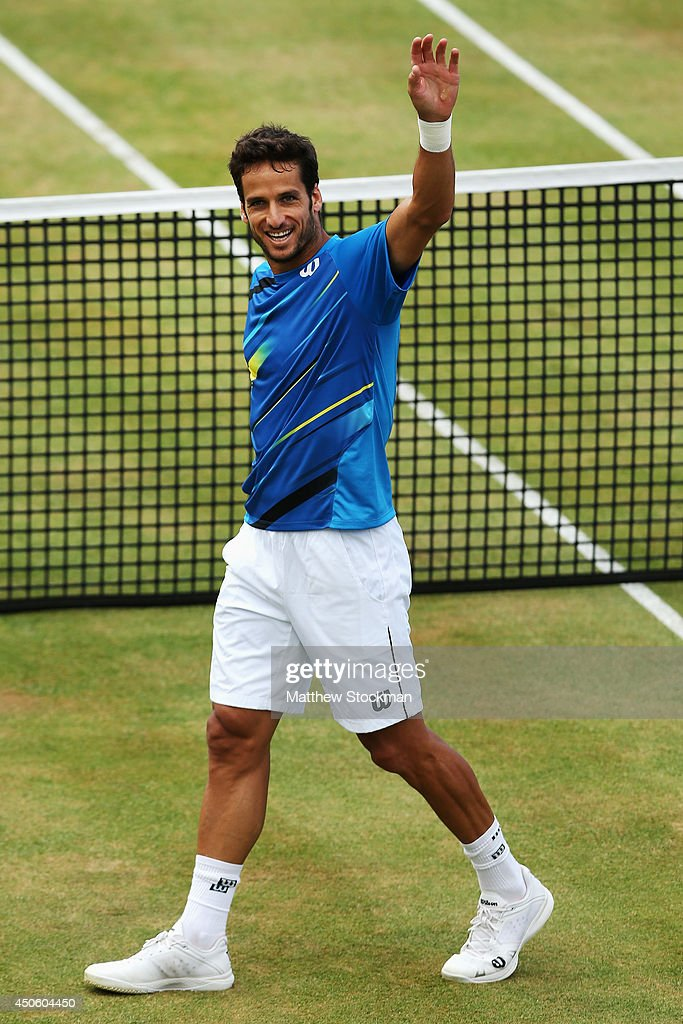 Feliciano Lopez of Spain celebrates victory over Radek Stepanek of the Czech Republicduring their Men's Singles semi-final match on day six of the Aegon Championships at Queens Club on June 14, 2014 in London, England.