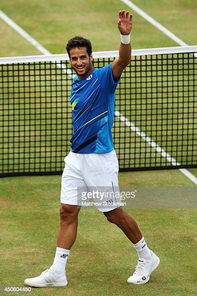 Feliciano Lopez of Spain celebrates victory over Radek Stepanek of the Czech Republicduring their Men's Singles semifinal match on day six of the...