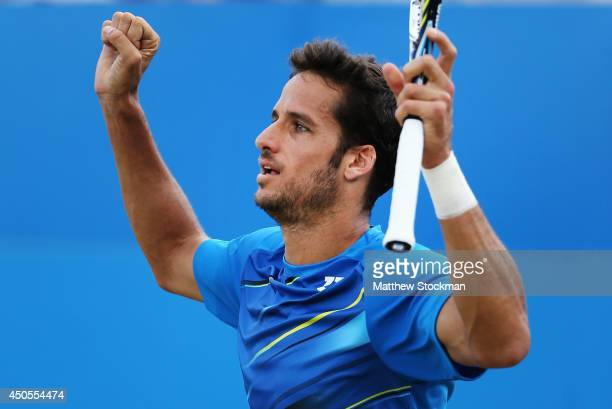 Feliciano Lopez of Spain celebrates victory over Tomas Berdych of the Czech Republic during their Men's Singles match on day five of the Aegon...