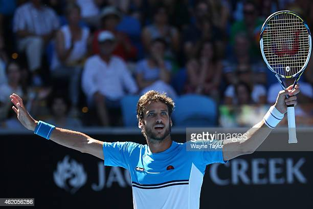 Feliciano Lopez of Spain celebrates winning in his third round match against Jerzy Janowicz of Poland during day six of the 2015 Australian Open at...