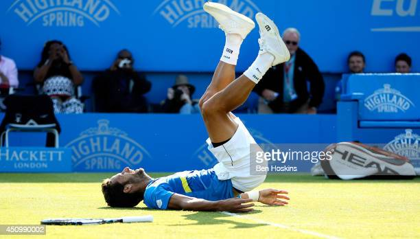 Feliciano Lopez of Spain celebrates winning the Men's Final between Richard Gasquet of France and Feliciano Lopez of Spain at the Aegon International...