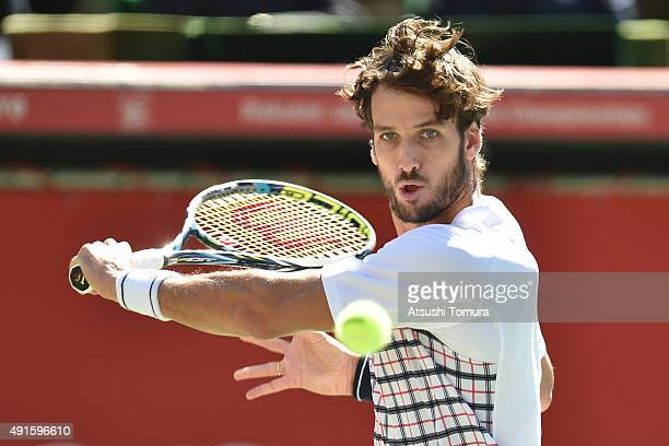 Feliciano Lopez of Spain competes against Joao Sousa of Portugal during the men's singles first round match on day three of Rakuten Open 2015 at...