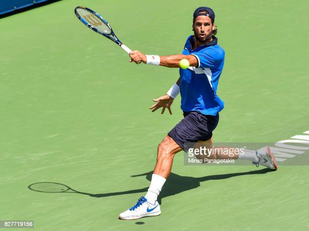Feliciano Lopez of Spain hits a backhand slice return against Hyeon Chung of Korea during day five of the Rogers Cup presented by National Bank at...