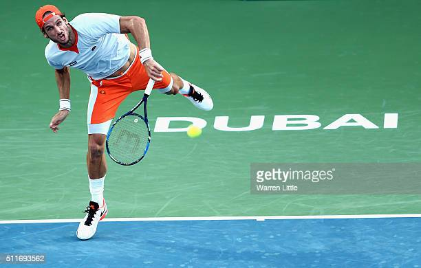 Feliciano Lopez of Spain in action against Guillermo GarciaLopez of Spain during day two of the ATP Dubai Duty Free Tennis Championship at the Dubai...