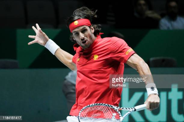Feliciano Lopez of Spain in his semi final singles match against Kyle Edmund of Great Britain during Day 6 of the 2019 Davis Cup at La Caja Magica on...