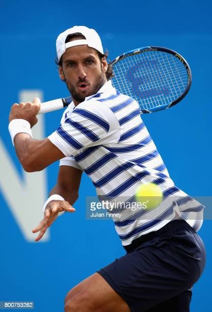 Feliciano Lopez of Spain plays a backhand during the mens singles final against Marin Cilic of Croatia during day seven of the 2017 Aegon...