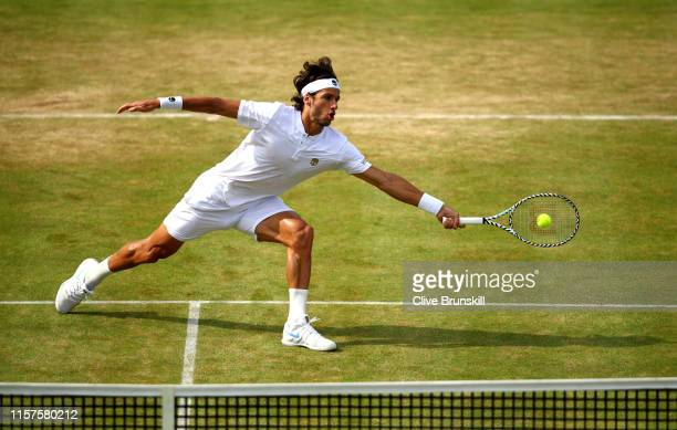 Feliciano Lopez of Spain plays a forehand during his mens singles semifinal match against Felix AugerAliassime of Canada during day six of the...