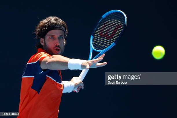 Feliciano Lopez of Spain plays a forehand in his first round match against Sam Querrey of the United States on day two of the 2018 Australian Open at...
