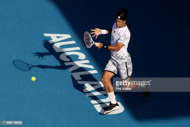 Feliciano Lopez of Spain plays a forehand in his singles match against Fabio Fognini of Italy during day three of the 2020 Men's ASB Classic at ASB...