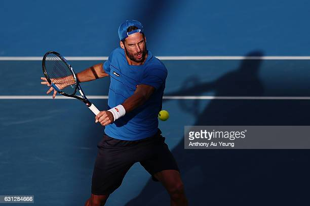 Feliciano Lopez of Spain plays a volley in his match against Michael Venus of New Zealand on day eight of the ASB Classic on January 9 2017 in...