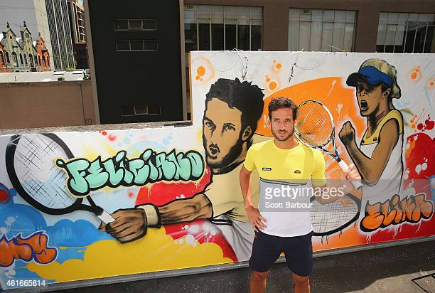 Feliciano Lopez of Spain poses after painting street art with Melbourne graffiti artist Daniel Wenn during the ellesse Tennis Performance Apparel...