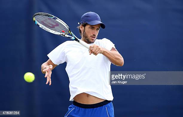 Feliciano Lopez of Spain practices on day two of the Aegon Open Nottingham at Nottingham Tennis Centre on June 22 2015 in Nottingham England