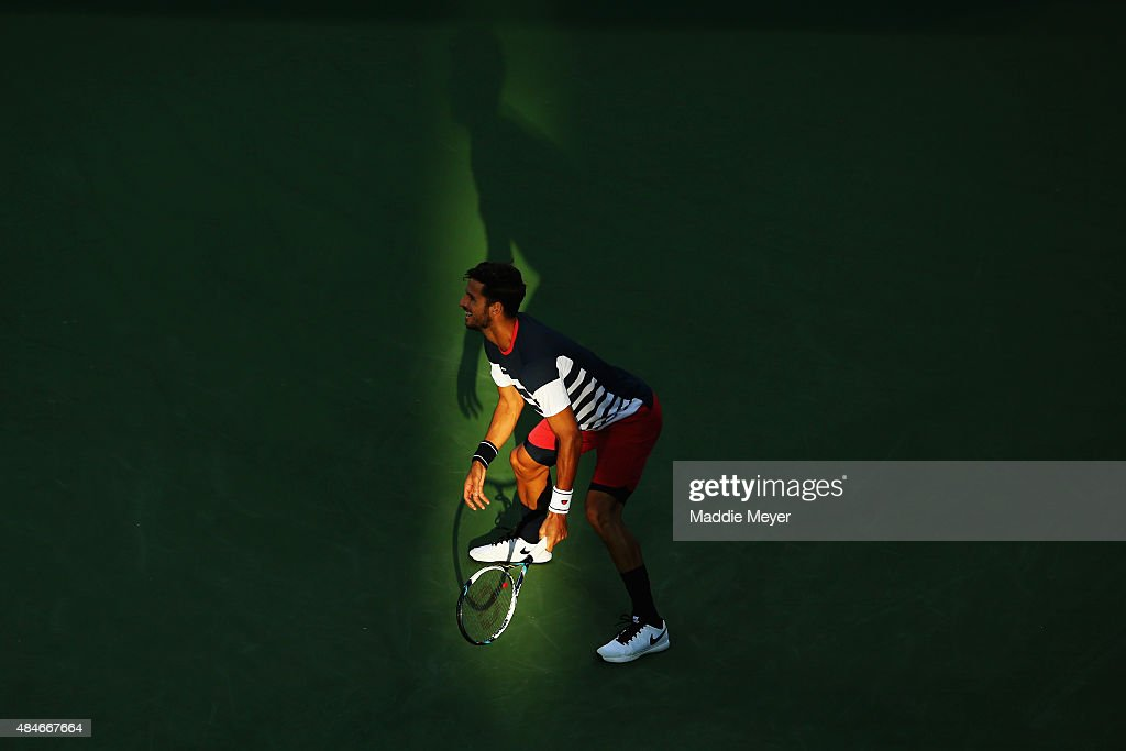 Feliciano Lopez of Spain prepares to recieve a serve from Rafael Nadal of Spain during Day 6 of the Western & Southern Open at the Lindner Family Tennis Center on August 20, 2015 in Cincinnati, Ohio.