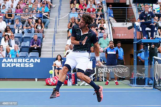 Feliciano Lopez of Spain reacts to a shot against Milos Raonic of Canada during their Men's Singles Third Round match on Day Five of the 2015 US Open...