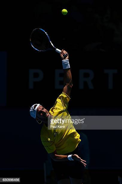 Feliciano Lopez of Spain serves to Adam Pavlasek of the Czech Republic in the men's singles match during day five of the 2017 Hopman Cup at Perth...