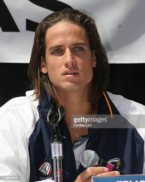 Feliciano Lopez of Spain talks to press at prematch Davis Cup press conference WinstonSalem NC USA on Tuesday April 3 2007