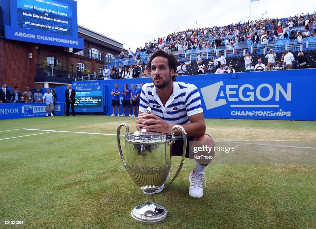 Feliciano Lopez (ESP) with Trophy after during Men's Doubles Final match on the day seven of the ATP Aegon Championships at the Queen's Club in west London on June 25, 2017