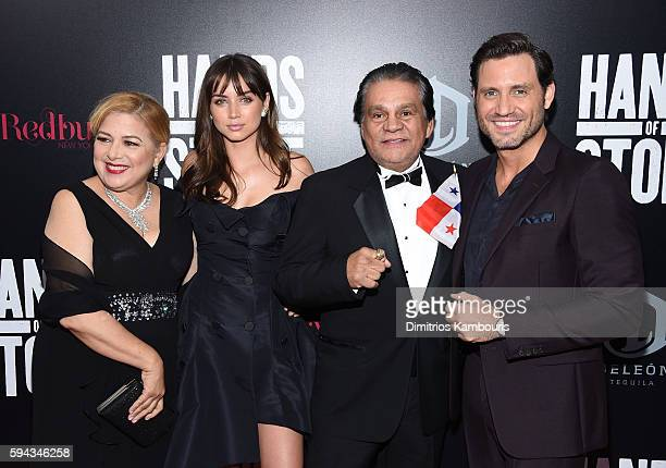 Felicidad Duran Ana de Armas Roberto Duran and Edgar Ramirez attend the Hands Of Stone US premiere at SVA Theater on August 22 2016 in New York City