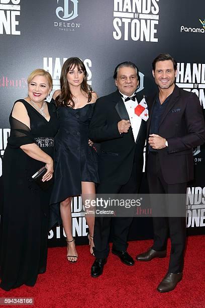 Felicidad Duran Ana De Armas Roberto Duran and Edgar Ramirez attend The Weinstein Company Presents the US Premiere of Hands of Stone at SVA Theater...