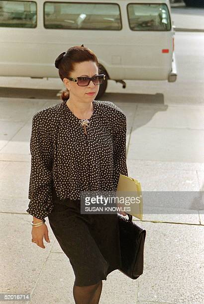 Felicidad Noriega wife of deposed Panamamian leader General Manuel Noriega walks to the Federal Courthouse 13 September as the jury selection process...
