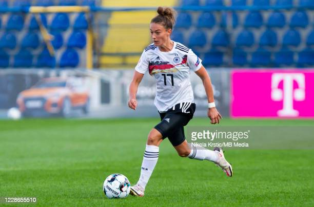 Felicitas Rauch of Germany comes forward on the ball during the UEFA Women's EURO 2022 Qualifier match between Montenegro and Germany at Pod Goricom...