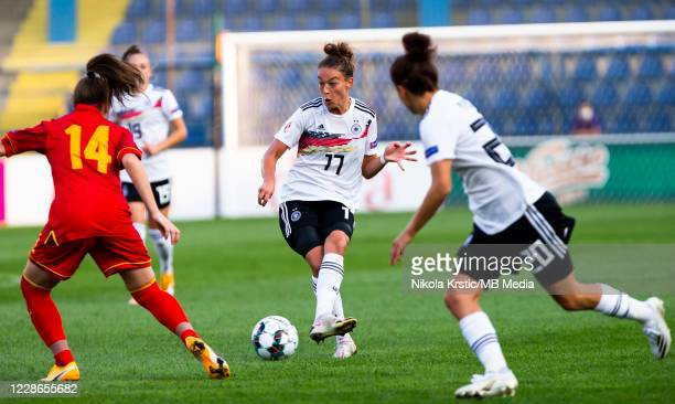 Felicitas Rauch of Germany passes the ball during the UEFA Women's EURO 2022 Qualifier match between Montenegro and Germany at Pod Goricom on...