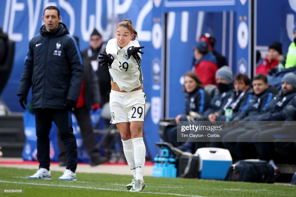 Felicitas Rauch #29 of Germany takes a throw-in during the France Vs Germany SheBelieves Cup International match at Red Bull Arena on March 4, 2017 in Harrison, New Jersey.