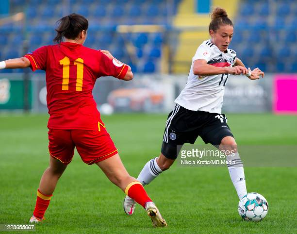 Felicitas Rauch of Germany takes on Kuc of Montenegro during the UEFA Women's EURO 2022 Qualifier match between Montenegro and Germany at Pod Goricom...