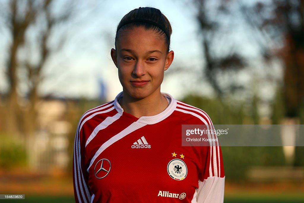 Felicitas Rauch poses during the Germany Women's U17 team presentation at Sport School Wedau on October 27, 2012 in Duisburg, Germany.