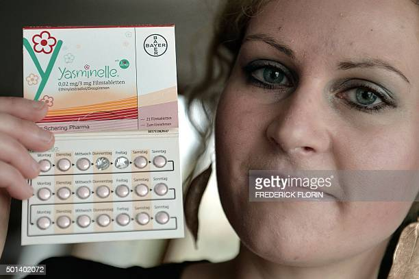 FONSEGRIVES Felicitas Rohrer a German woman who is suing German pharmaceuticals giant Bayer holds a box of the birth control pill ' Yasminelle ' at...