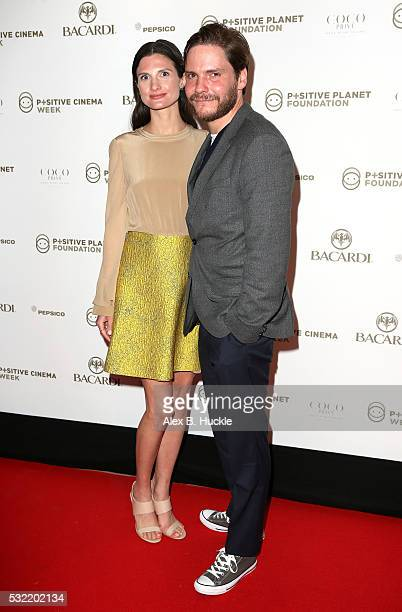 Felicitas Rombold and actor Daniel Bruehl attend the Planet Finance Foundation Gala Dinner during the 69th annual Cannes Film Festival at Hotel...