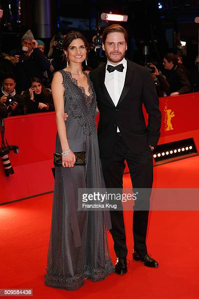 Felicitas Rombold and Daniel Bruhl attend the 'Hail Caesar' premiere during the 66th Berlinale International Film Festival Berlin at Berlinale Palace...