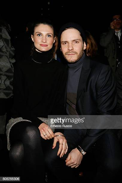 Felicitas Rombold and Daniel Bruhl attend the Pal Zileri show during Milan Men's Fashion Week Fall/Winter 2016/17 on January 16 2016 in Milan Italy