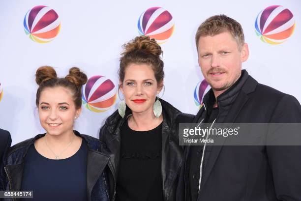Felicitas Woll Aleen Koetter and Martin Gruber attend the photo call for the television film 'Nackt Das Netz vergisst nie' at Astor Film Lounge on...