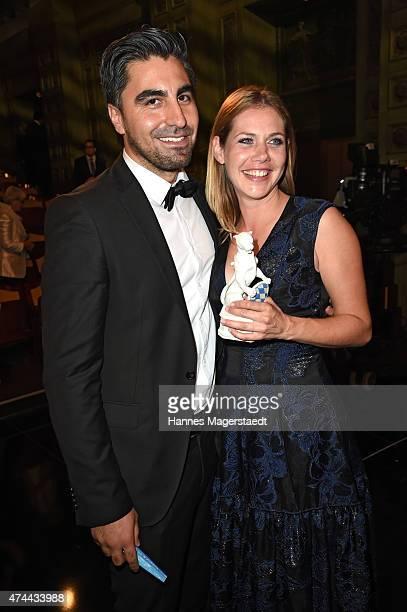 Felicitas Woll and her boyfriend Emrah Karacok attend the Bayerischer Fernsehpreis 2015 at Prinzregententheater on May 22 2015 in Munich Germany