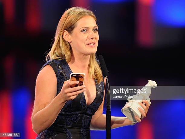 Felicitas Woll awarded as best actress speaks during the Bayerischer Fernsehpreis 2015 show at Prinzregententheater on May 22 2015 in Munich Germany