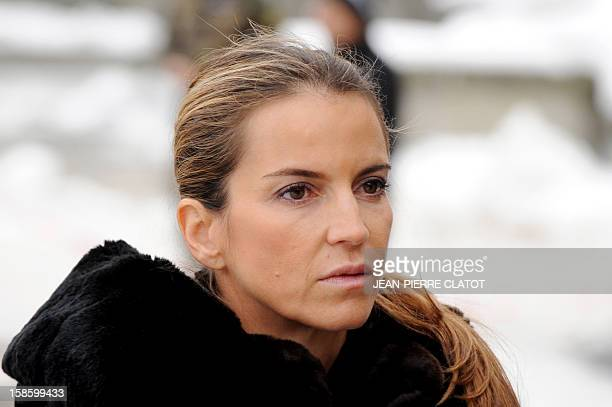 Felicite Herzog, the daughter of French climber Maurice Herzog arrives to attend her father's funeral ceremony, on December 20, 2012 at the...